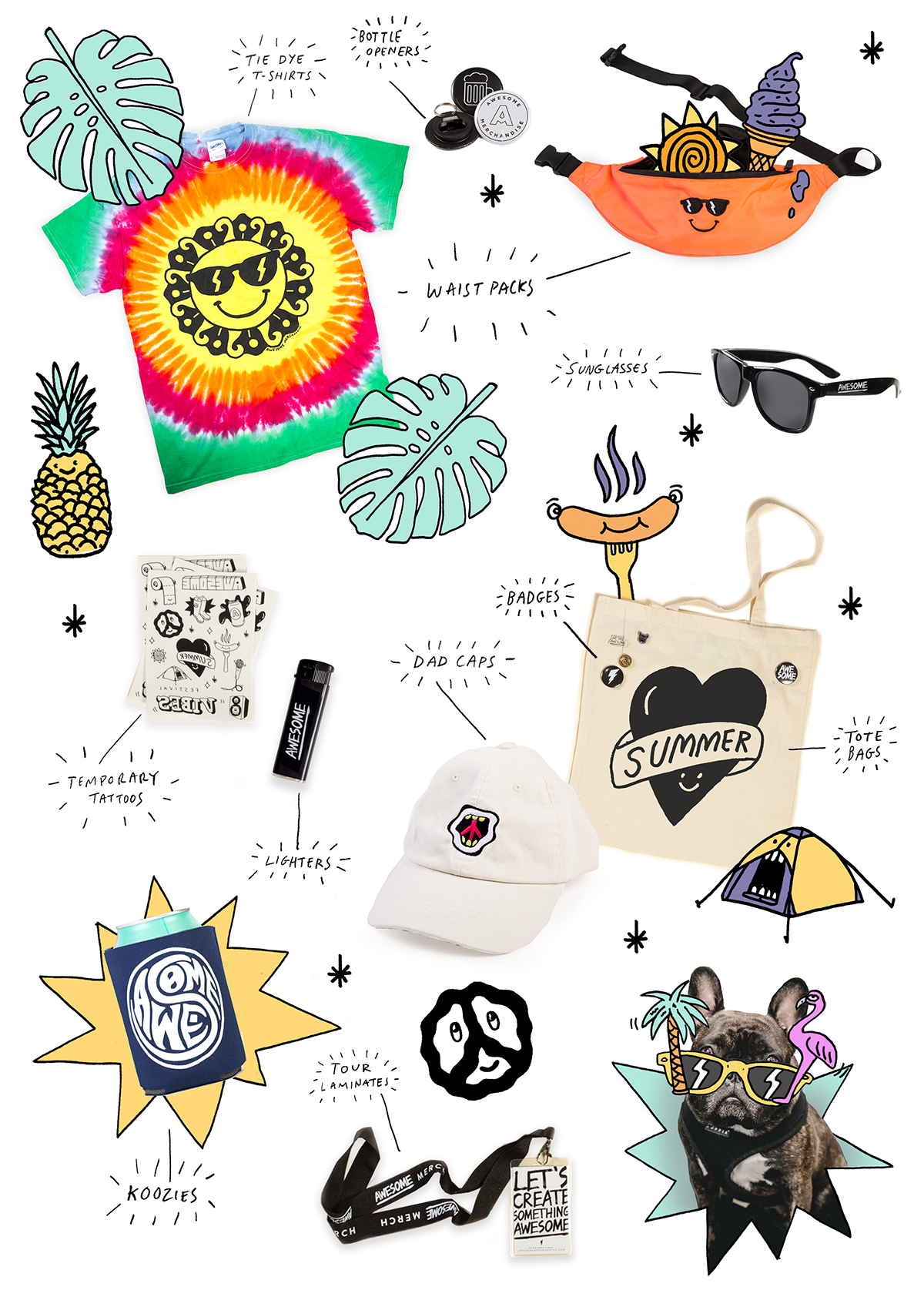Summer, Summer vibes, Merch , Summer merch, Merch ideas, Awesome Merchandise