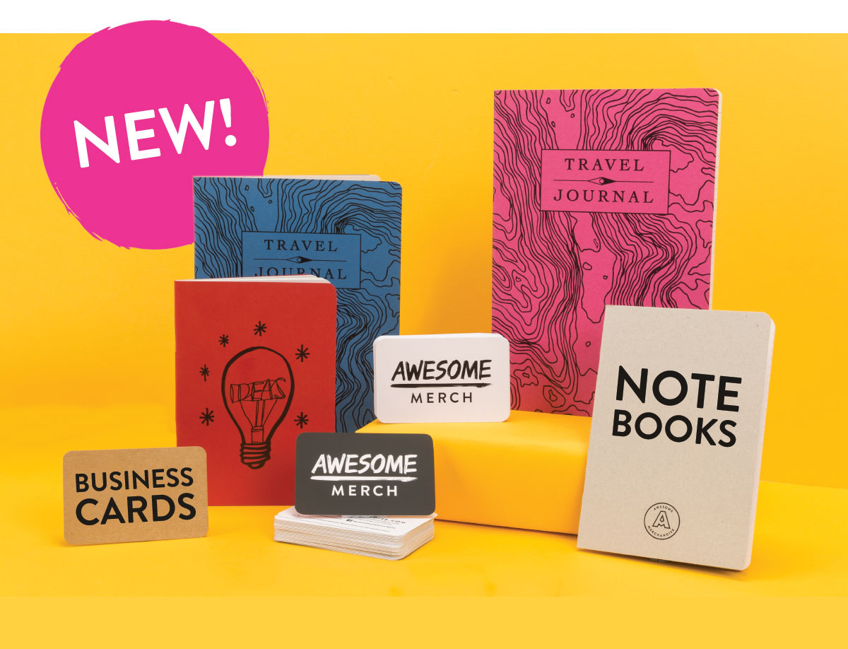 rounded business cards, rounded notebooks, new product